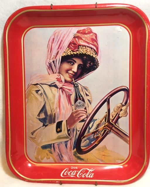 Coca Cola woman in pink driving a car tin tray by HoardersHideaway on Etsy
