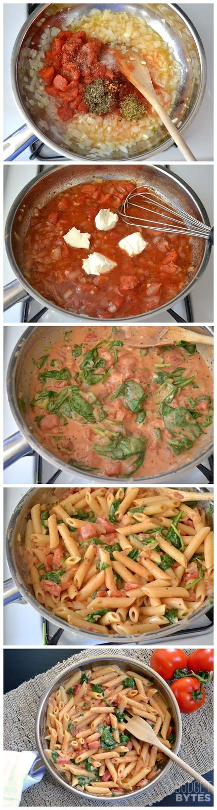 Creamy Tomato Spinach Pasta. This was sooo yummy, especially the leftovers. Total comfort food. Used Neufchâtel cheese. Would be good with Italian sausage, but delicious without! Note: boil spinach in pasta water vs wilting in sauce.