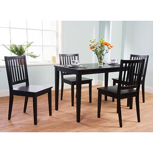 Shaker 5 piece dining set black furniture for Dining table set deals
