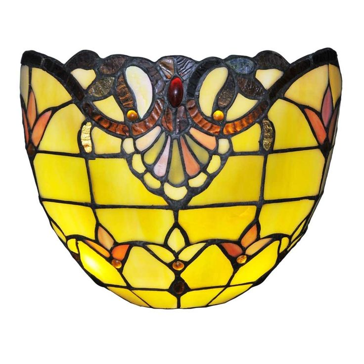 River of Goods 8-inch Tiffany Style Stained Glass Allistar Wireless LED Wall Sconce