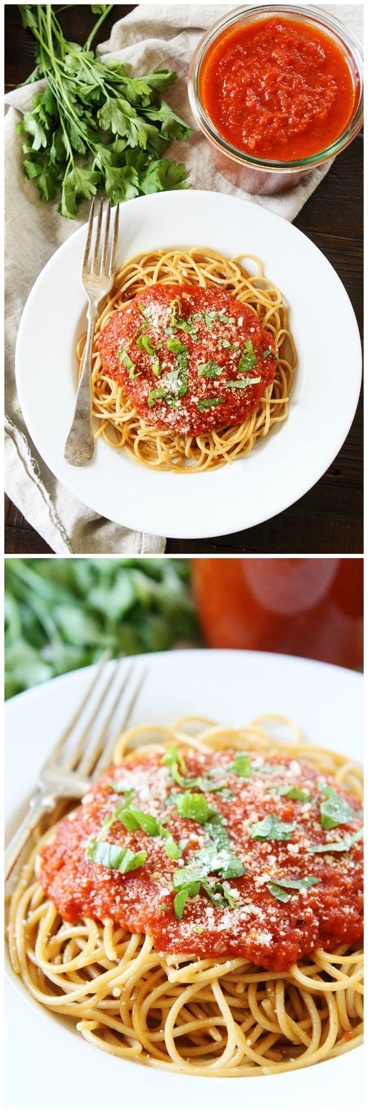 Slow Cooker Marinara Sauce Recipe on twopeasandtheirpo... This rich and hearty marinara sauce has the BEST flavor because it is made in the slow cooker. You will love this simple sauce! And it freezes well too!