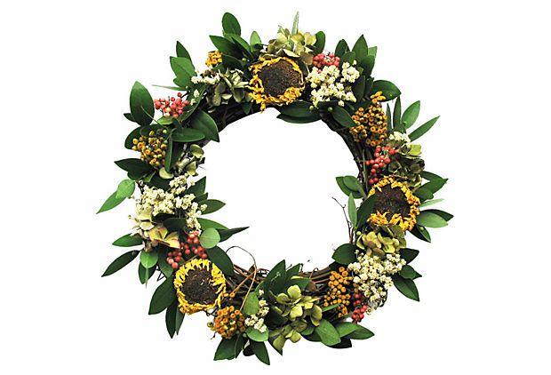 "17"" Sunflower Twig Wreath, Dried on OneKingsLane.com"