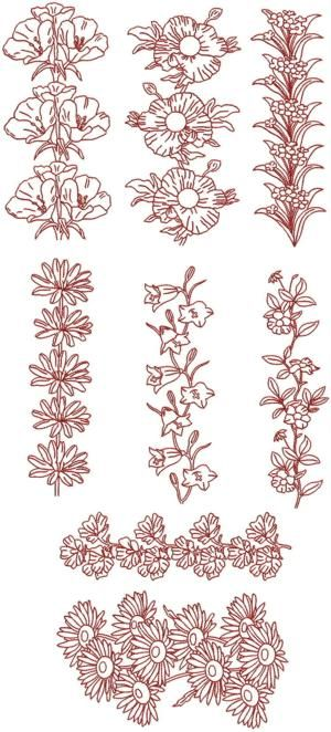 Advanced embroidery designs redwork flower borders