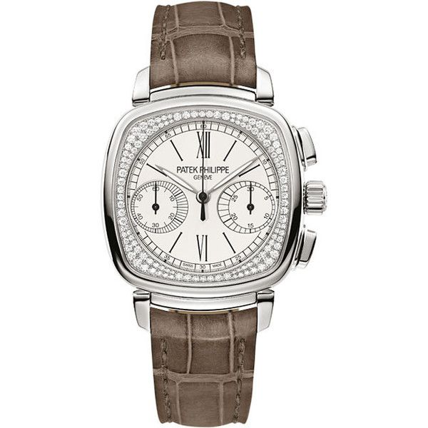 Patek Philippe Complications Mechanical Silver Dial Ladies Watch (£57,450) ❤ liked on Polyvore featuring jewelry, watches, patek philippe, water resistant watches, white gold watches, roman numeral watches and brown jewelry