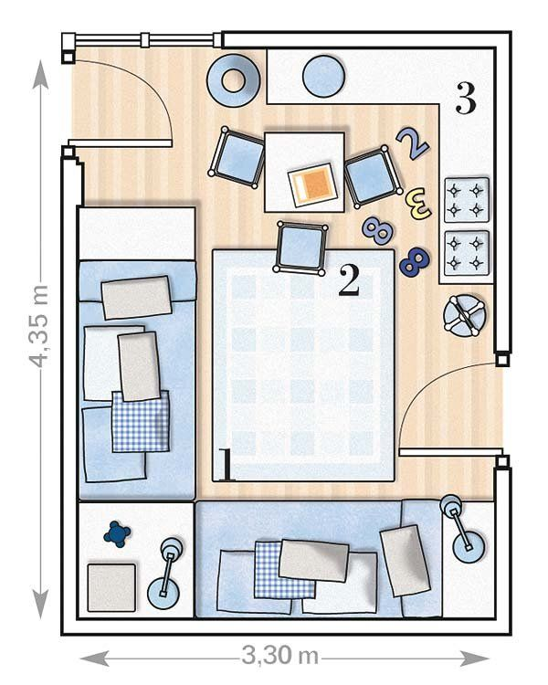 Dormitorio con dos camas colocadas en L