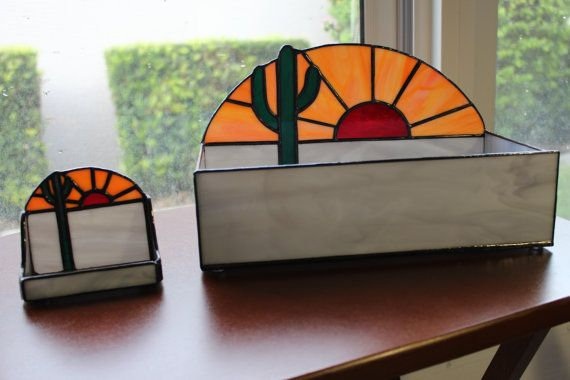 Stained Glass Terrarium and Business Card Holder Set - Office Decor - Trinkets Storage - Handmade Gift
