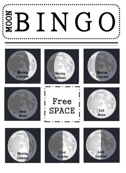 Practice the different phases of the moon with this moon BINGO! Includes 7 different BINGO boards and directions with modifications to make the game easier or more difficult.
