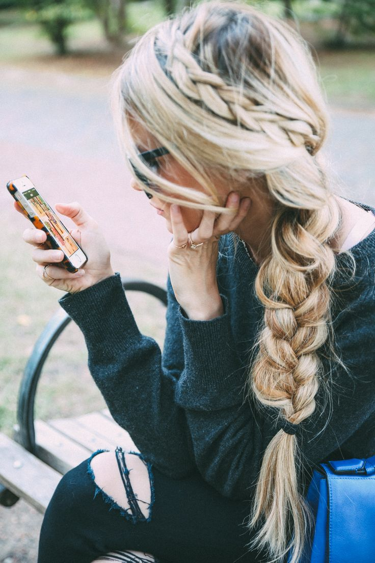 sweater + destructed black skinnies + gorgeous braid