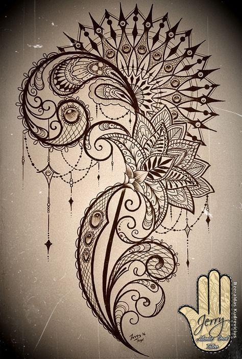 Mandala und Spitze Oberschenkel Tätowierung Idee … #tattoooberschenkel