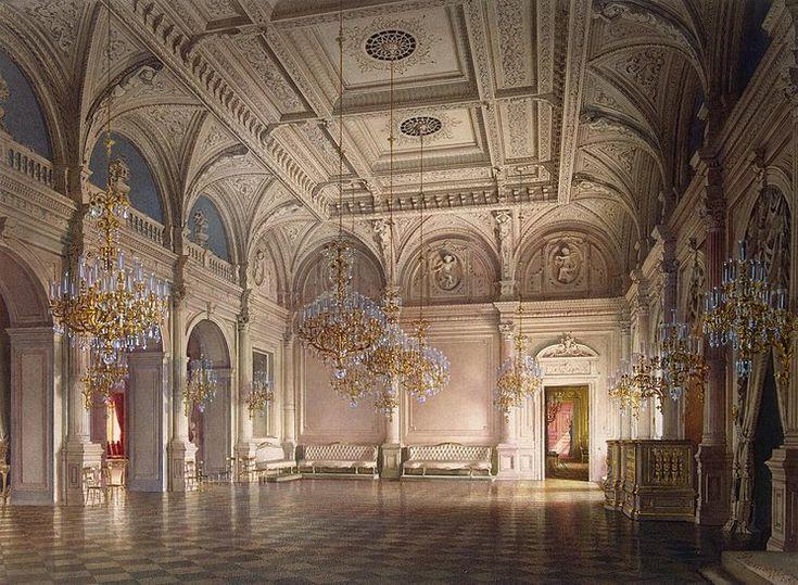 Mansion of Baron A. L. Stieglitz. The Ballroom watercolor, St. Petersburg Russia