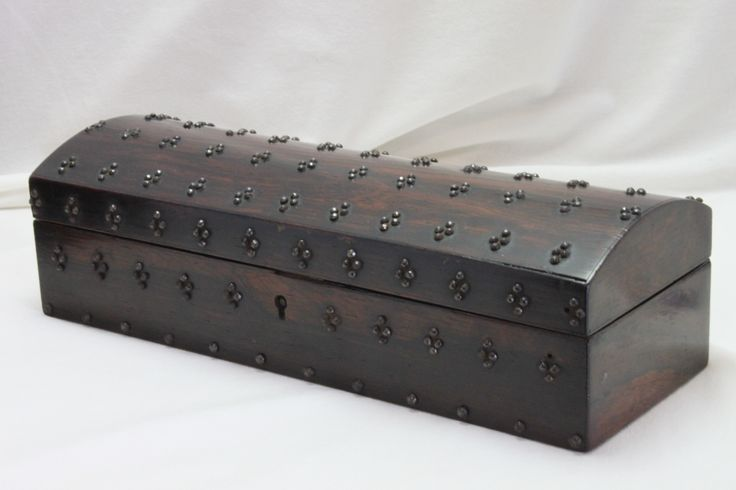This attractive jewellery box is veneered in rosewood and studded with faceted steel pins in the Gothic style. C1850. www.chinaroseantiques.com.au