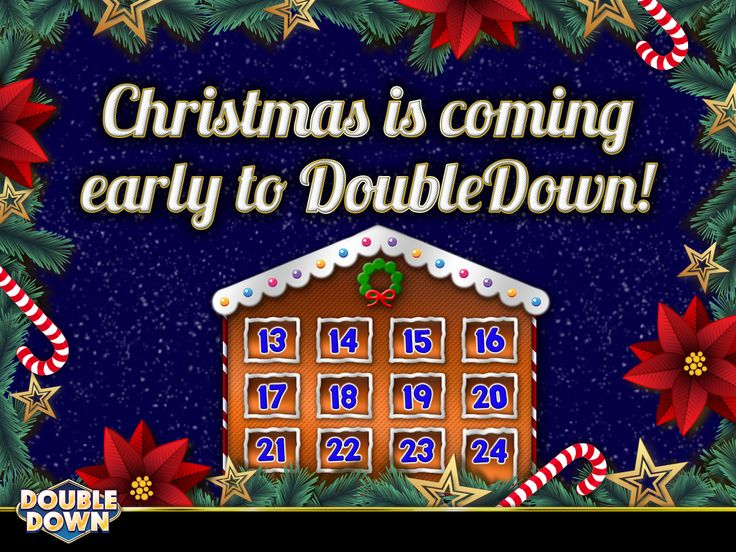 (EXPIRED) Christmas comes early to DoubleDown! Stop by our Facebook page tomorrow afternoon and watch us countdown the days to Christmas!