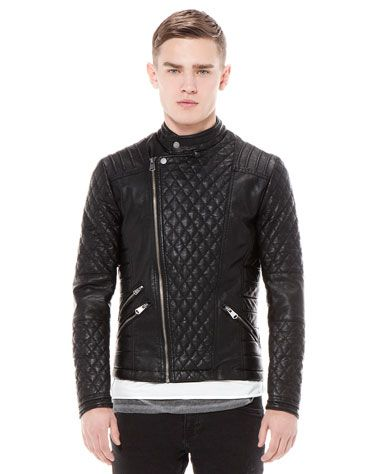 Bershka Turkey - Quilted imitation leather biker jacket