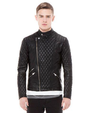 Bershka Turkey - Quilted imitation leather biker jacket