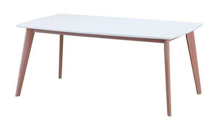 Angus+Spisebord+-+Hvid+-+150+-+Stilrent+og+moderne+spisebord+i+hvid.+Bordet+har+et+elegant+og+smukt,+hvidpigmenteret+understel+i+egetræ,+der+er+med+til+at+give+bordet+dets+moderne+udtyk.
