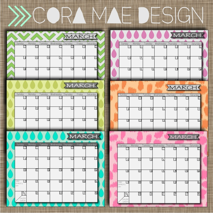 FREE! March 2013 printable calendars.