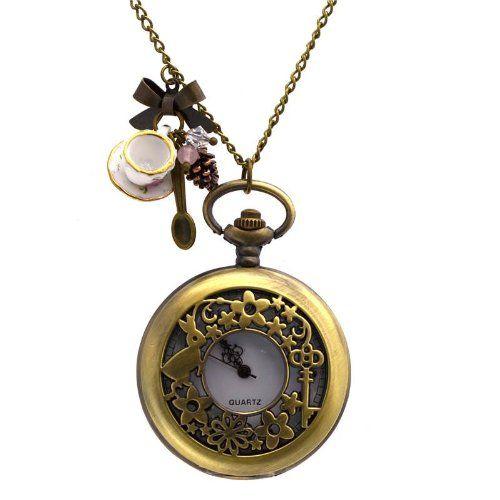 collier montre de poche 39 alice au pays des merveilles 39 lapin et charms tasse de the fashion. Black Bedroom Furniture Sets. Home Design Ideas