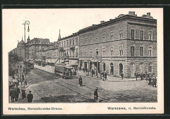 tolle AK Warschau, Marszalkowska-Strasse mit Strassenbahn