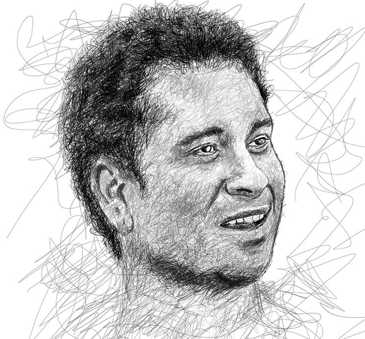 Sachin Tendulkar - Scribble Art in PS