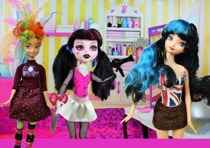 Anna and Elsa get a Makeover Rapunzel's Hair Salon! New Boo York Style P...