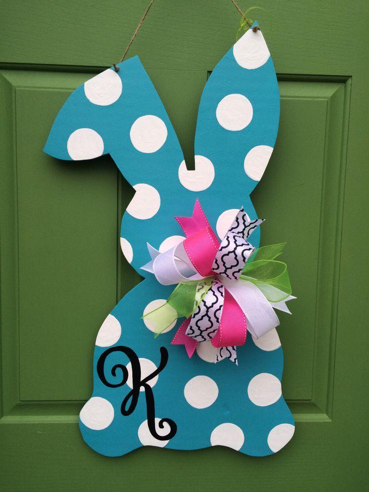 Monogrammed Polka Dot Bunny Wooden Door Hanger