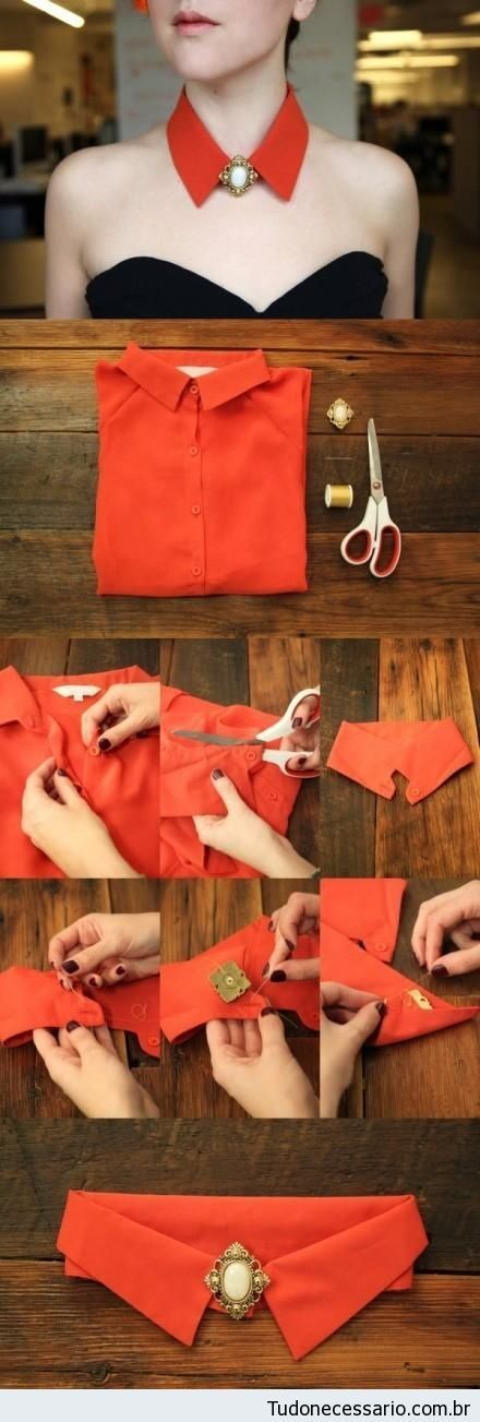 Cut a shirt collar keeping the tab and button.  Sew broach to buttonhole side.   21 Daily Do It Yourself Tutorials. More projects to make your own clothes at http://www.sewinlove.com.au/tag/free-sewing-pattern/