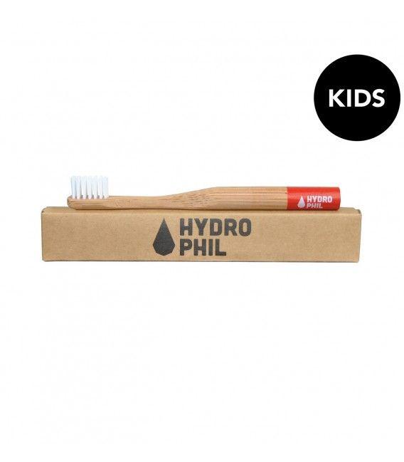 HYDROPHIL Naturalna, bambusowa szczoteczka do zębów dla dzieci, czerwona