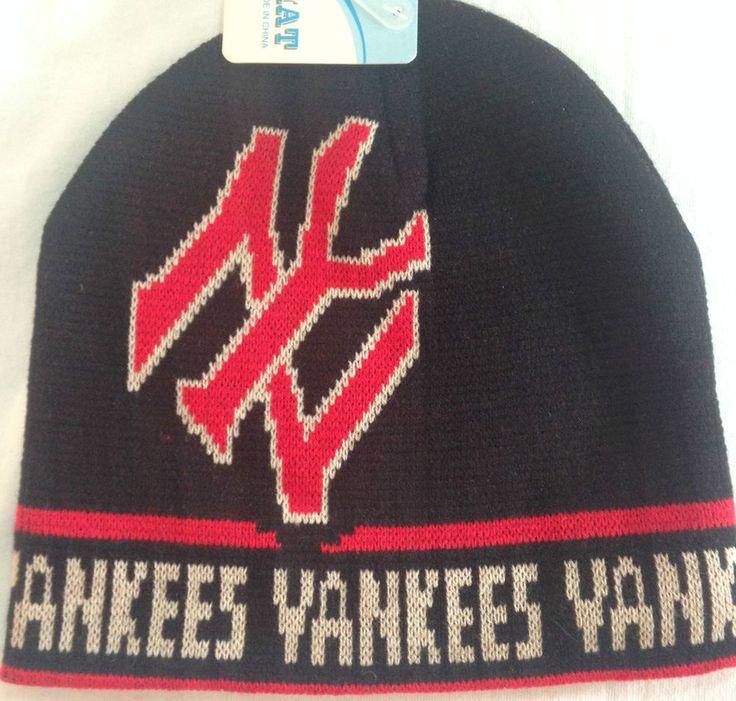 New York YANKEES Beanie Hat Baseball Team LOGO BLACK RED Knit Ski Cap NWT #NewYorkYankees #NewYorkYankees