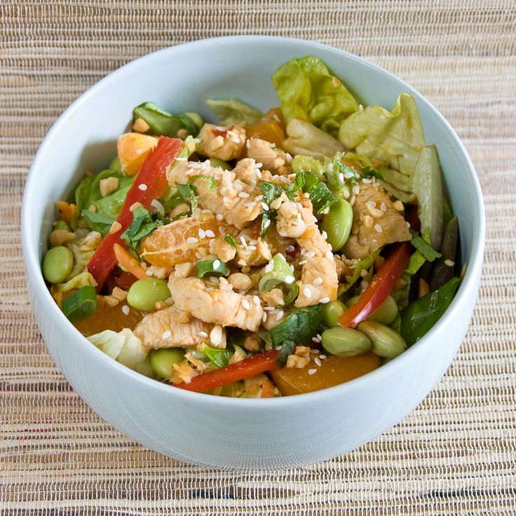Mandarin Chicken Salad w/ a Sweet & Sour Vinaigrette: Chinese Cuisine, Food Recipes, Chicken Recipes, Chicken Salad, Mandarin Chicken, Sour Vinaigrette, Edamame Salad, Cooking Recipes, Chicken Breast