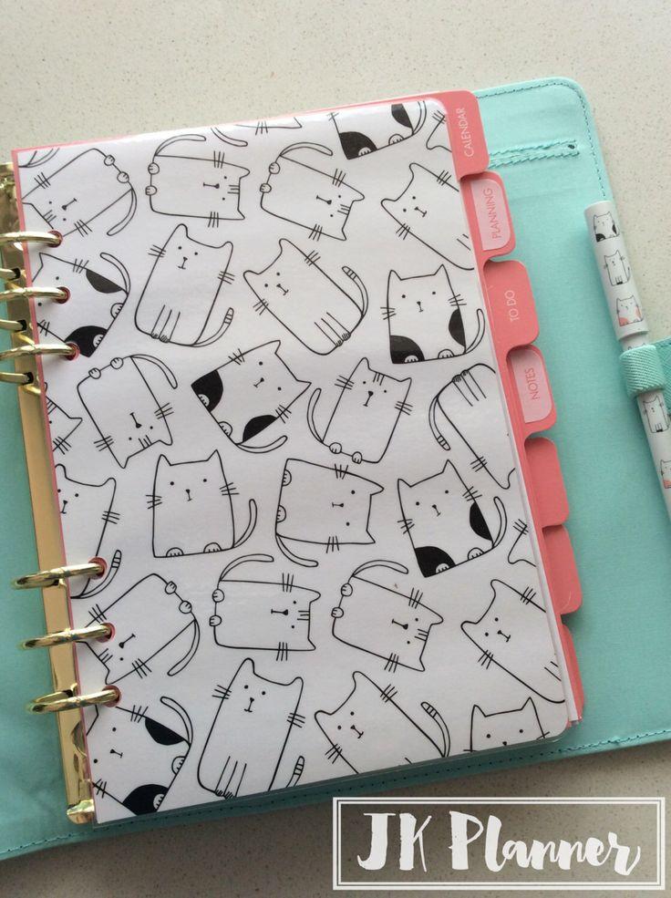 Planner Dashboard, Kikki K Vanskap paper, Personal or A5 Large size, Cat, fits Kikki K, Filofax, Webster's Planner, Carpe Diem by JKPlanner on Etsy https://www.etsy.com/au/listing/273424734/planner-dashboard-kikki-k-vanskap-paper