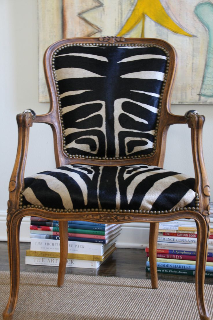 Beautiful Chair Covered In Old Zebra Hide Rug