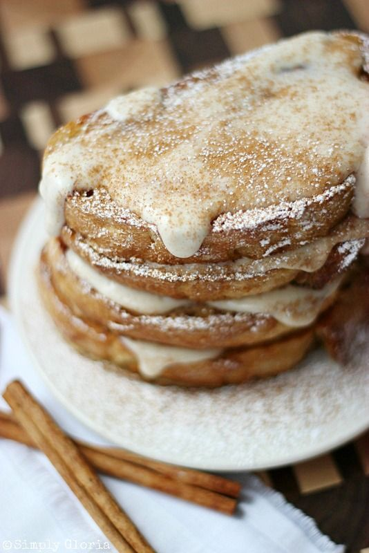 A classic french toast recipe with vanilla, cinnamon and a cream cheese glaze drizzled on warm toasted artisan bread slices. Are you a breakfast person? I mean, do you really like breakfast-- at br...