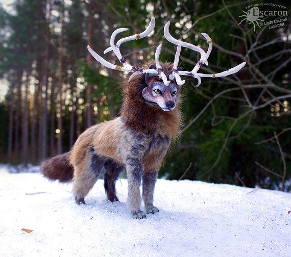 Der Spirit Wolf - Fantasy Art Puppe weiche Skulptur semi-beweglich Eckzahn