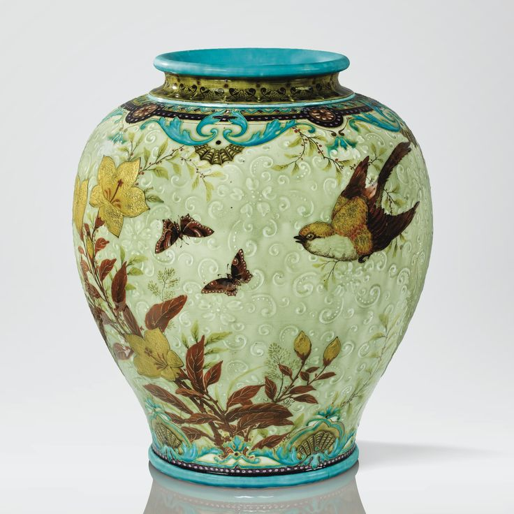 THEODORE DECK. 1823 - 1891.GRAND VASE, VERS 1880.A TIN GLAZED EARTHENWARE VASE BY JOSEPH THEODORE DECK, CIRCA 1880. SIGNED