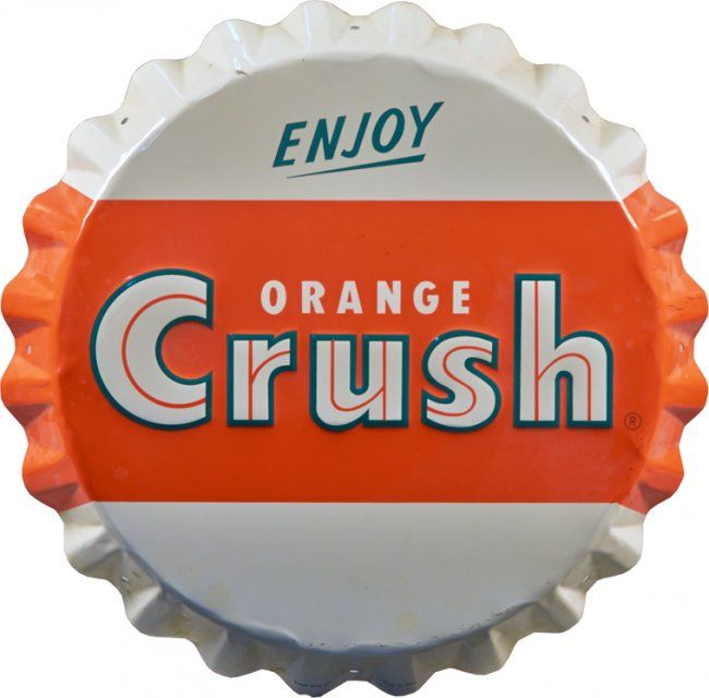 Good Morning All Caps : Quot enjoy orange crush embossed bottle cap shaped tin