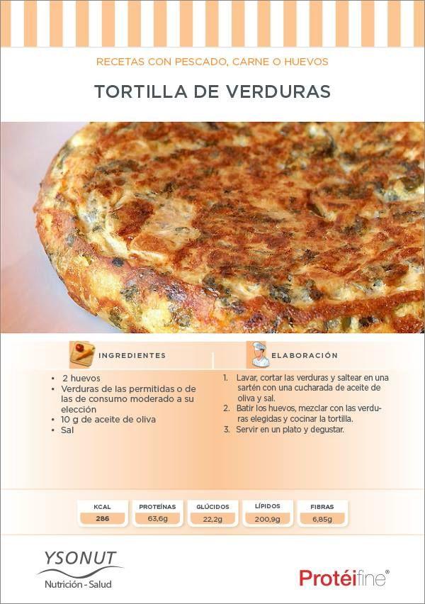 Tortilla de verdura  Ingredientes:  2 huevos Verduras de las permitidas o de las de consumo moderado a su elección 1og de aceite de oliva Sal  http://www.ysonut.com.ar
