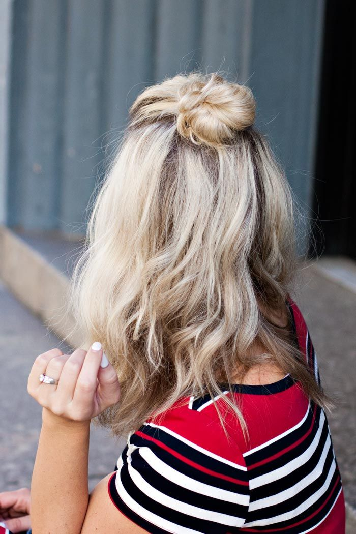 This kind of results in a mini top knot bun on the top of your head.