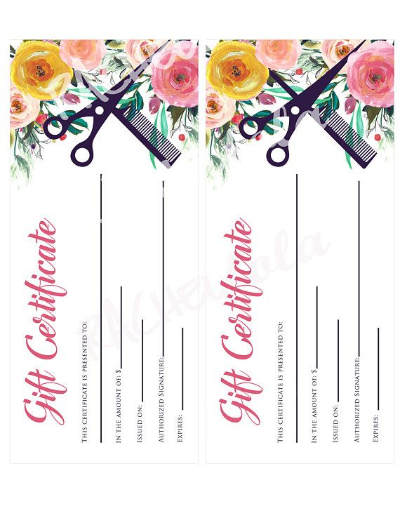 Printable Hair Salon Gift Certificate Template Hair Stylist Gift