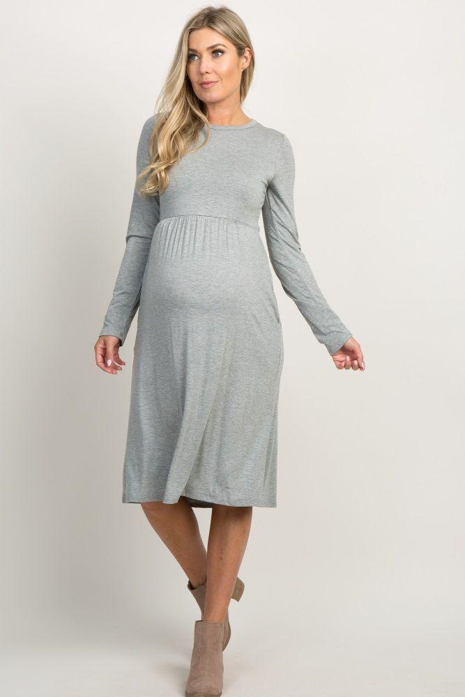 PinkBlush Maternity Striped Long Sleeve Pleated Dress