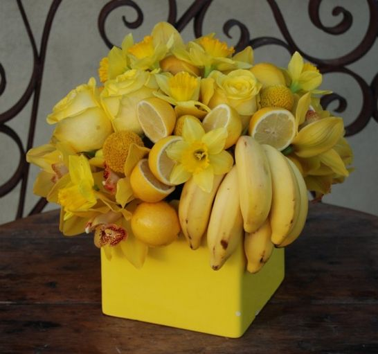 Yellow Bouquet of Fruit & Flowers - makes me smile :)