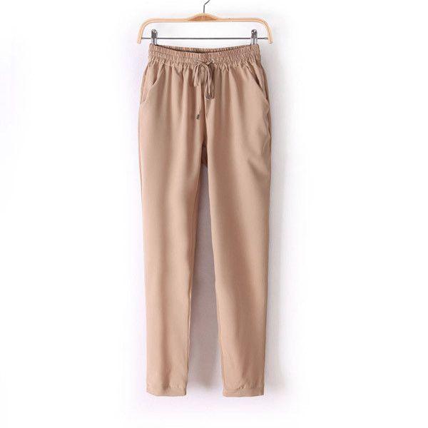 Summer Chiffon Pants Pants Casual Harem Drawstring Elastic Waist Pants Plus Size Women Trousers