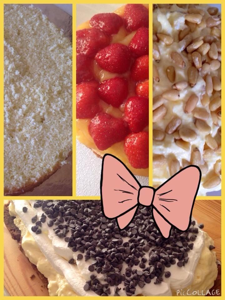Crema Pasticcera e Fragole; Mousse Limone e Pinoli;  Crema Zabaione Panna e Cioccolato