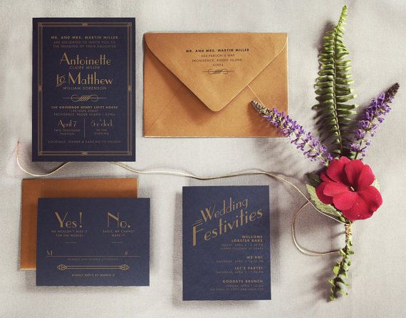 The Great Gatsby Art Deco Wedding Invitation by inviteddesign