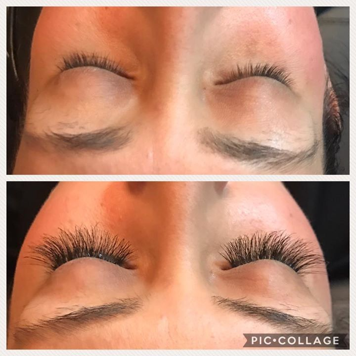 Before and after eyelash extensions with individual 3d