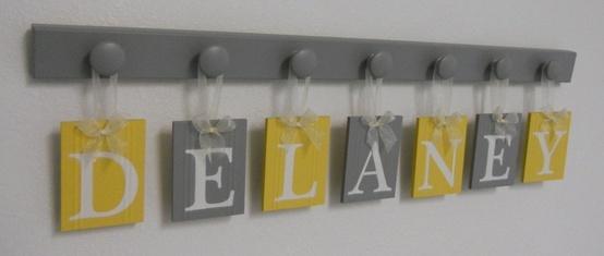 Gray and Yellow nursery wall art