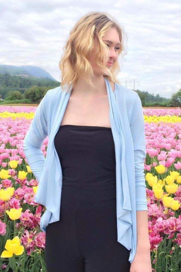 Diane Kroe Wrap top in New Spring Colour Serenity Blue