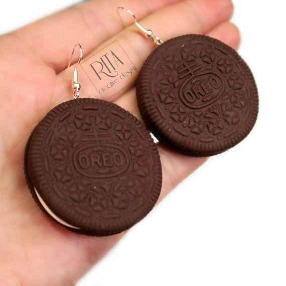 Kolczyki Oreo Cookies - gliny polimerowej fimo biżuterię.  kolczyki urok.