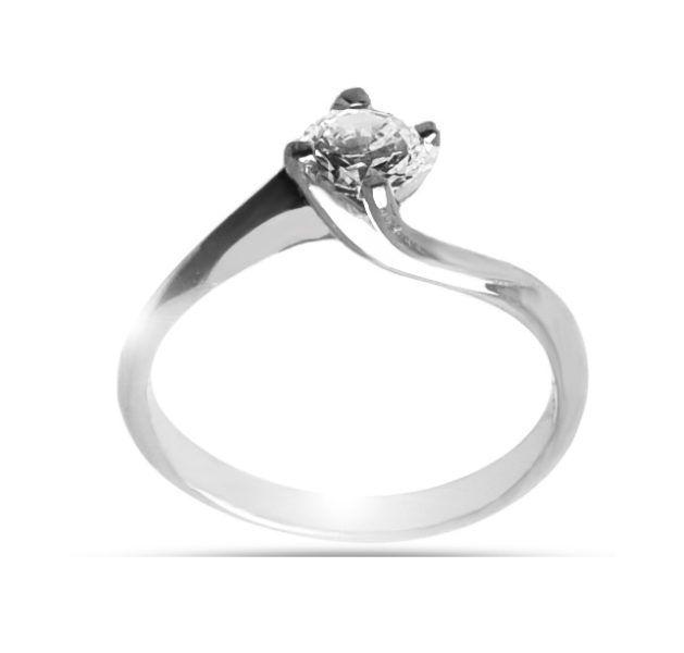 Μονόπετρο δαχτυλίδι Κ18 λευκόχρυσο διαμάντι DL042