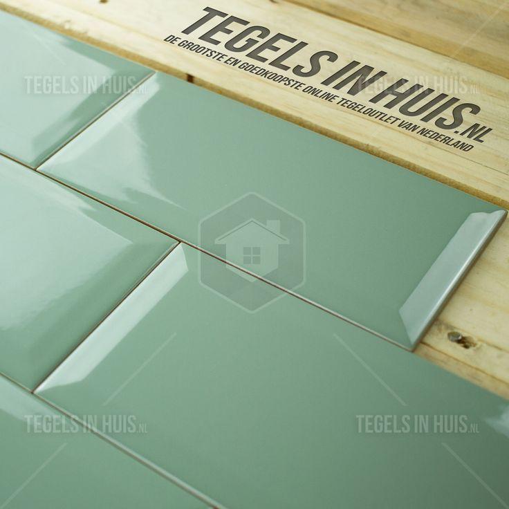 Wandtegel metro 10x20 oud grijs groen glans bestel je eenvoudig bij Tegels in Huis