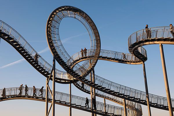 Escher-like rollercoaster stairway sculpture by German artists Heike Mutter and Ulrich Genth in Duisburg, Germany.